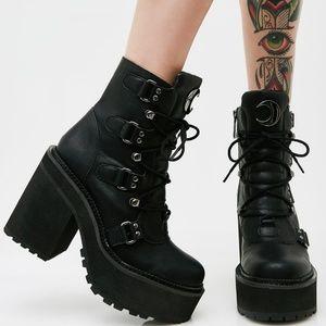 Dolls Kill Broom Raider Platform Boots